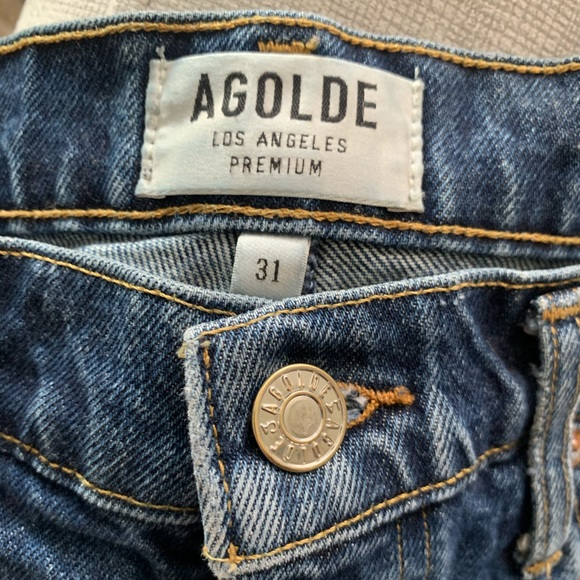 AGOLDE - High waisted distressed denim shorts